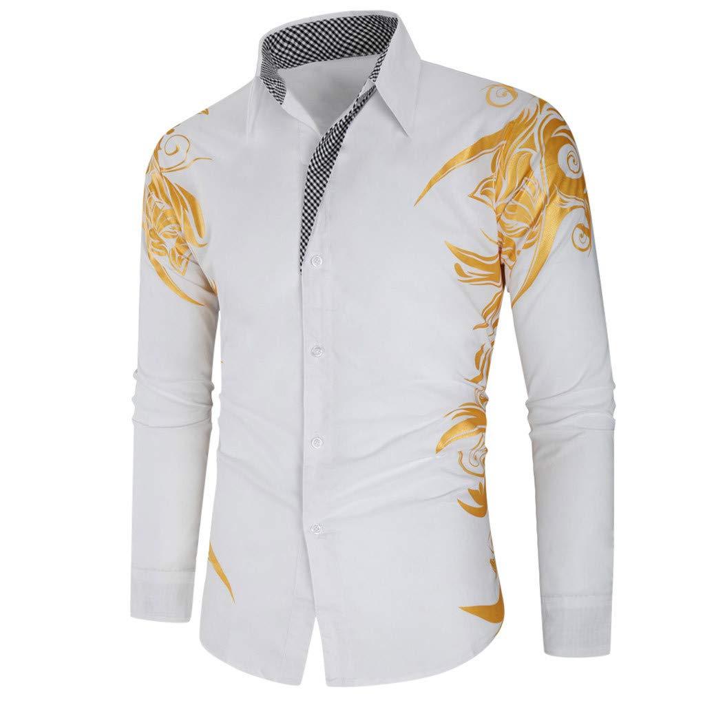 HomeMals Hawaiian Shirt Men Short-Sleeve Front-Pocket Big Flower Multiple Colors