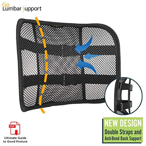 Go Lumbar Support Mesh Back Cushion for Car Seat Desk Office Chair [UPGRADE VERSION WITH STRAP], Recommended by Chiropractor Dr. Jose Guevara for Orthopedic Driving Comfort and Posture Support, Black (Travelon Cool Mesh Back Support)