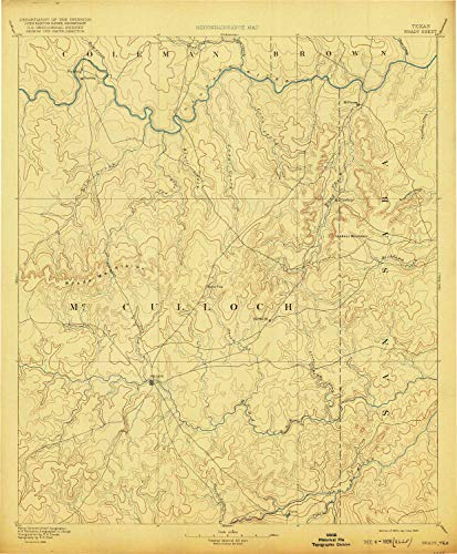 YellowMaps Brady TX topo map, 1:125000 Scale, 30 X 30 Minute, Historical, 1894, Updated 1920, 19.8 x 16.4 in - Tyvek