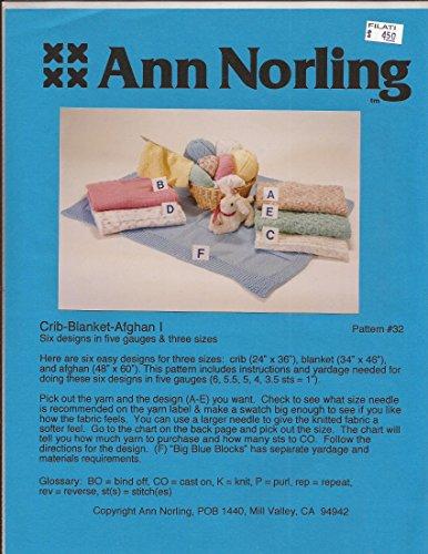 Crib - Blanket - Afghan I - Ann Norling Knitting Pattern #32 - Pattern (Crib Blanket Afghan)