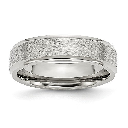 Stainless Steel Ridged Edge 6mm Satin and Polished Band Size 9 (Ridged Edge Steel Stainless)