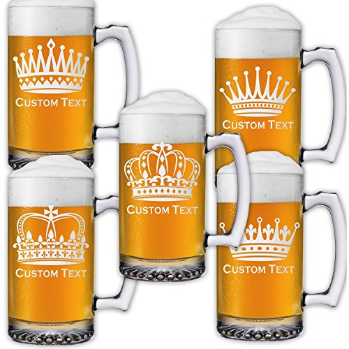 Engraved 25 Oz Sports Mug (Royalty 25oz Beer Mug Stein (one) Engraved Crown w/ your Custom Text)