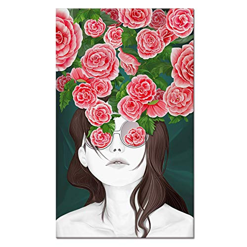 Visual Art Decor Canvas Wall Art Sunglass Girl with Blossom Pink Red Flowers Painting Prints Ready to Hang Gift for Woman Bedroom Living Room Fashion Beauty Salon Wall Decoration ()
