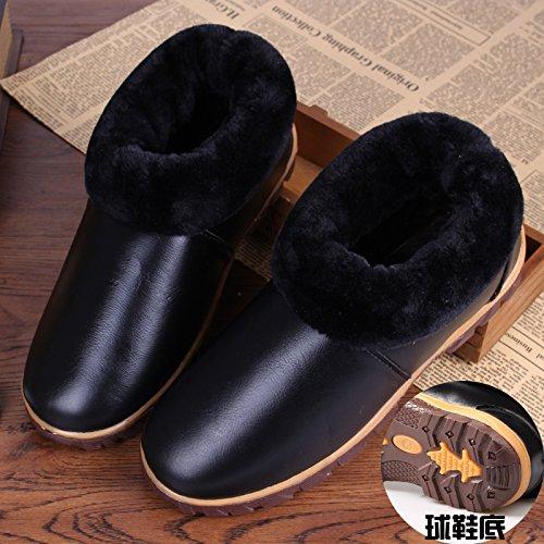 Restez Au Chaud Hiver Chaussures Imperméables Bœuf Tendon Fond En Cuir Pantoufles De Coton Avec Des Chaussures En Coton Anti-dérapant 27 (39-40), Bicolore Noir De Base