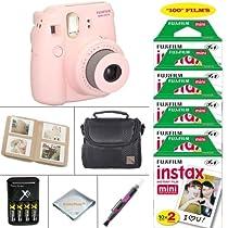 Fujifilm Mini 8 Instant Film Camera (pink) - Fujifilm Instax Film 100 PCS - Battery & Cahrger - Photo Album - Case