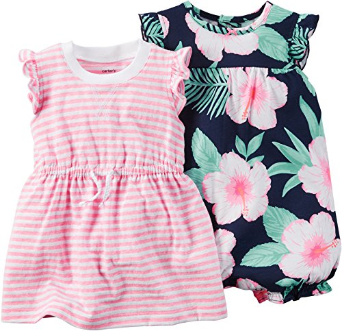 Carter's Baby Girls' 2 Pack Rompers 121g480, Pink Floral, 9 Months by Carter's (Image #2)