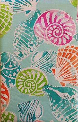 Pastel Seashells Vinyl Flannel Back Tablecloth (60