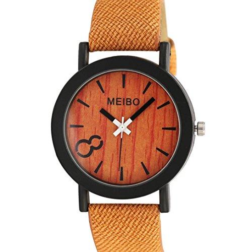 Perman Neutral Simple Fashion Leather Quartz Wrist Watch   Yellow
