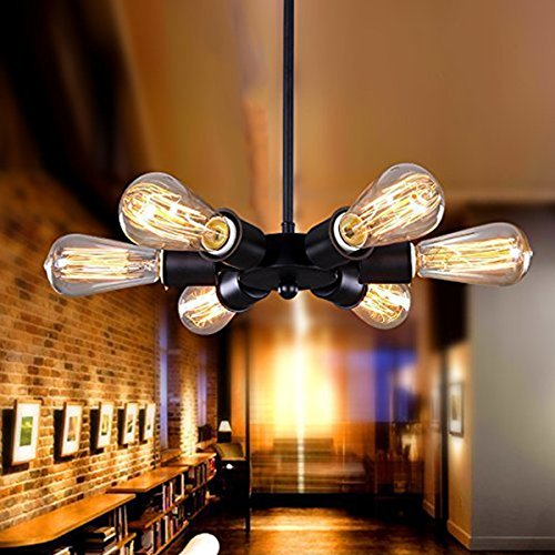 Industrial Pendant Ceiling Light Vintage Chandelier Lighting Fixture,E26x6 Wheel Type