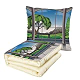 iPrint Quilt Dual-Use Pillow House Decor Room with Window View of Mountains and Field Landscape Contemporary Architecture Decor Multifunctional Air-Conditioning Quilt Grey Green