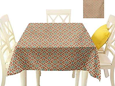 familytaste Wrinkle Free Tablecloths Antique,Stylized Swirled Leaves and Petals Symbolic Dotted Artwork Old Fashioned,Orange Reseda Green Table in Washable Polyester