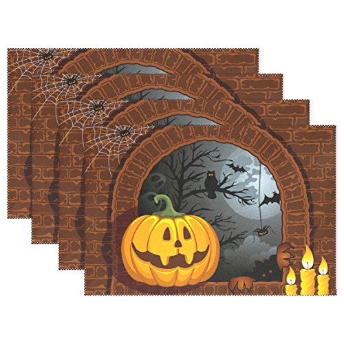 WIHVE Placemats Wipeable Dining Halloween Jack O'lantern Owl Table Mat Rectangle Polyester Washable Insulation Non-slip Kitchen Placemat Set of (Diy Halloween Placemats)