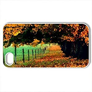 Autumn Path - Case Cover for iPhone 4 and 4s (Watercolor style, White)
