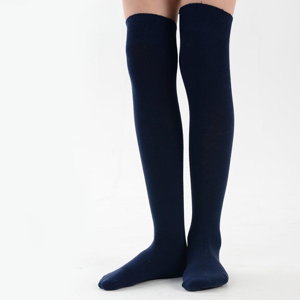 adam /& eesa M/ädchen Baumwolle /Über Kniestr/ümpfe Schulsocken Normale Oberschenkel Hohe Socken in 8 Farben