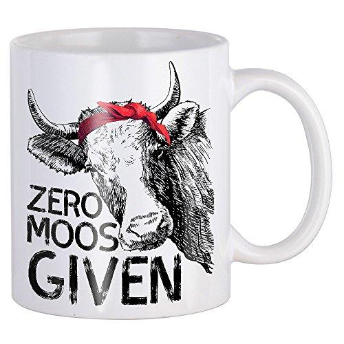 Zero Moos F Given Cow Sound Gift For Farmer White Ceramic 11 Oz Coffee or Tea Mugs -