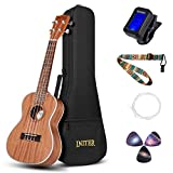 INITER Concert Ukulele Guitar Starter Kit,23 inch Ukulele for Beginner Hawaiian Guitar Bundle with Gig Bag,tuner,Strings,Strap
