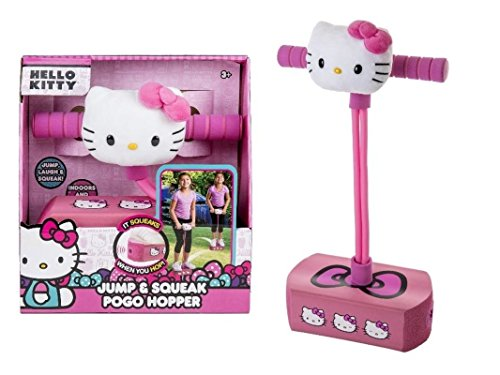 (Hello Kitty Jump and Squeak Foam Pogo Jumper by Flybar - Fun & Safe Foam Bungee Pogo Hopper Toy With Cute Plush Hello Kitty Head, For Ages 3 & Up - Genuine Sanrio Product,Pink)