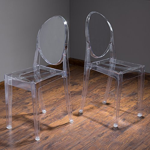 Cayden Transparent PC Ghost Accent Chairs (Set of 2) For Sale