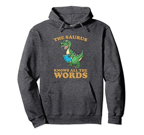 Unisex Funny Thesaurus Dinosaur Sweatshirt Thesaurus Rex Hoodie Large Dark Heather