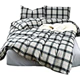 HIGHBUY Grey Plaid Duvet Cover Queen Boys Men Brushed Cotton Full Bedding Sets Zipper Closure Reversible Geometric Checkered Bedding Cover Collection Kids 100% Yarn Dyed Cotton Lightweight