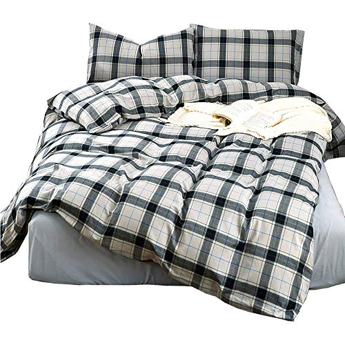 HIGHBUY Grey Plaid Flannel Duvet Cover Queen Boys Men Brushed Cotton Full Bedding Sets with Zipper Closure Reversible Geometric Checkered Winter Bedding Cover for Kids Gift Yarn Dyed Cotton