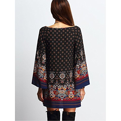 SCASTOE Women Bohemian Ethnic Style Vintage Printed Long Sleeve Loose Casual Tunic Dress