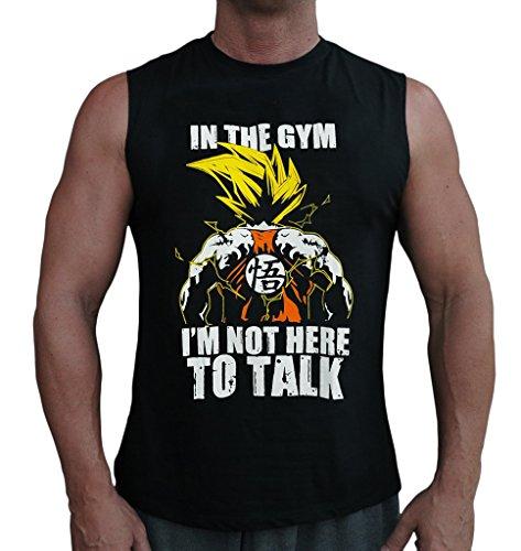 Leen N Meen Goku Dragon Ball Z DBZ In Gym Men's Sleeveless Stringer Tank Top Shirt Black Large