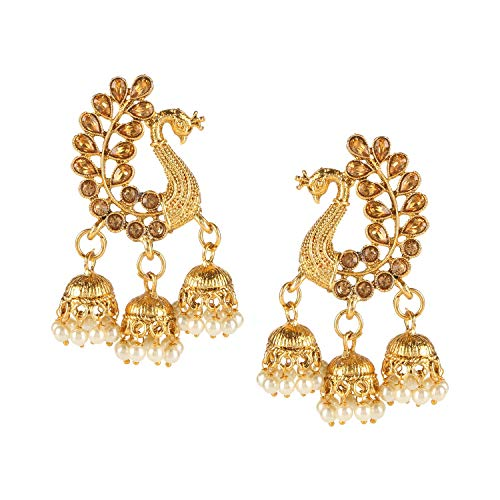 Efulgenz Indian Jewelry Bollywood Gold Plated Crystal Pearl Tassel Wedding Jhumki Big Dangle Peacock Earrings Set