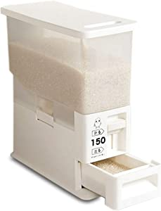 Conworld Rice Dispenser-Rice Storage Dry Food Container 13 Pounds Capacity -Household Rice Bucket with Lid and Press to Take Rrice,With Each Dispensing 150gram(1 CUPS)