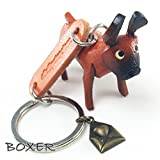 BOXER 3D Animal Style So Cute Handcraft Leather Keychain Keyring Made in THAILAND