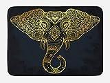 Lunarable Elephant Mandala Bath Mat, Ethnic Tribal Native American Totem Mandala Animal Hippie Style, Plush Bathroom Decor Mat with Non Slip Backing, 29.5 W X 17.5 W Inches, Petrol Blue Gold