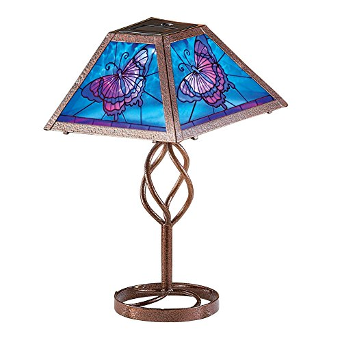 Solar Butterfly Outdoor Table Brown