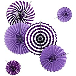 YuCheng(TM Colorful Hanging Paper Fans Set Party Hanging Paper Fans Set Paper Garlands Decoration for Birthday Wedding Graduation (Violet)