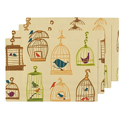 Roostery Birds 4pc Eco Canvas Cloth Placemat Set - Vintage Style Bird Cage Yellow Pet Birdie Birds Bird Cages Cages Nature Digital Animals by Sheena Hisiro (Set of 4) 13 x 19in