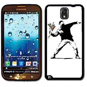 Samsung Galaxy Note 3 Black Rubber Silicone Case - Banksy Throwing Flowers Street Art L.A. Los Angeles