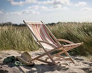 Verano de interior al aire libre verde y Coral tela cubierta de madera silla raya