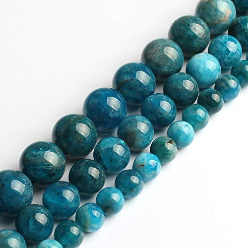 Song Xi Blue Apatite Stone Beads Shape Round 6mm 15inches Beads for Jewelry Making Beads Bracelets for Women Needlework DIY Beads Trinket