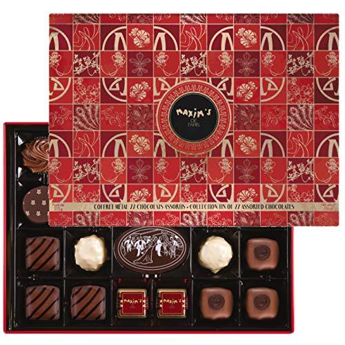 Maxims de Paris Gourmet French Chocolates Assortment Christmas tin 22 pieces 7.4oz