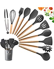 Kitchen Utensils Sets, 12Pieces Cooking Utensils Sets Silicone Include Utensil Holders - Nonstick Non Scratch Cookware Kitchen Tool with Wooden Handle