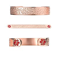 "Divoti Custom Engraved Lovely Valentine Heart PVD Rose Gold 316L Medical Alert Bracelet - 6"" Cuff (fits 6.5-8.0"")"