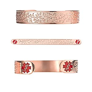 "Divoti Custom Engraved Lovely Valentine Heart PVD Rose Gold 316L Medical Alert Bracelet - 6"" Cuff (fits 6.5-8.0"")"