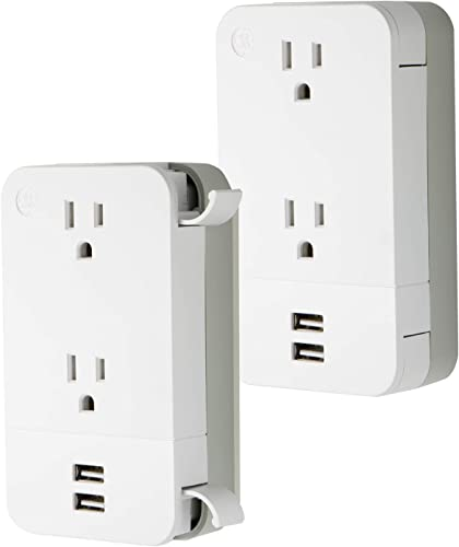 GE Pro 2 Outlet 2 USB Charging Station, 2 Pack, 3-Prong Adapter Power Strip, Built-in Cable Management, White, 53869