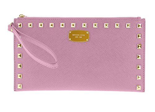 Michael Kors Saffiano Studded Leather Zip Clutch and Wristlet - Pale Pink by MICHAEL Michael Kors