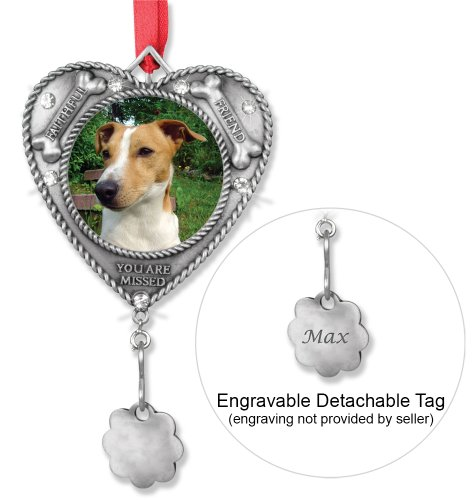 Dog Bereavement Memorial Photo Ornament with Dog Tag Holder