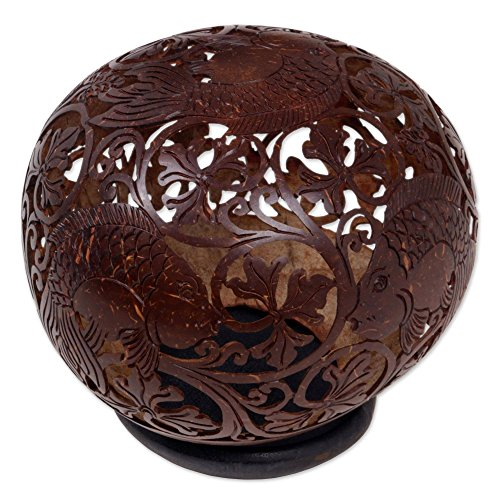 NOVICA Earthtone Animal Themed Coconut Shell Sculpture, 'Playful Fish'