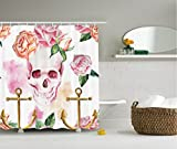 vintage baby tub - Ambesonne Skull Shower Curtain Decorations by, Nautical Anchor Flowers Roses and Peonies Vintage Art Decor Painting, Polyester Fabric Bathroom Set with Hooks, 75 Inches Long, Pink Orange