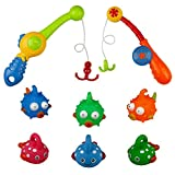 Bath Toys Fishing Game with 6 Cute Fish and 2 Fishing pole Toy Set Best Gifts bathtub toys for Kids Girls Boys toddlers
