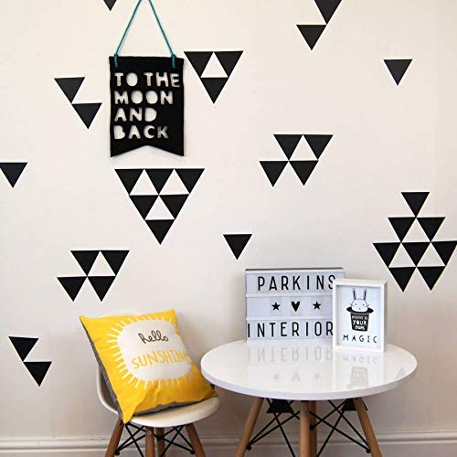 Removable wall decals Black triangle 2 inch 128pcs easy to peel easy to stick safe On walls Paint metallic vinyl decor Bugybagy (black triangle, 2 inch)