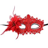 CHLZYD Masks Sexy Women Black Lace Eye Face Mask Masquerade Party Ball Prom Costume Charms (red)