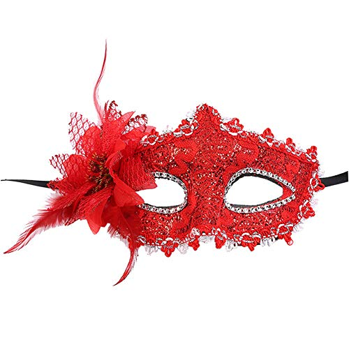 CHLZYD Masks Sexy Women Black Lace Eye Face Mask Masquerade Party Ball Prom Costume Charms (red) by CHLZYD (Image #1)